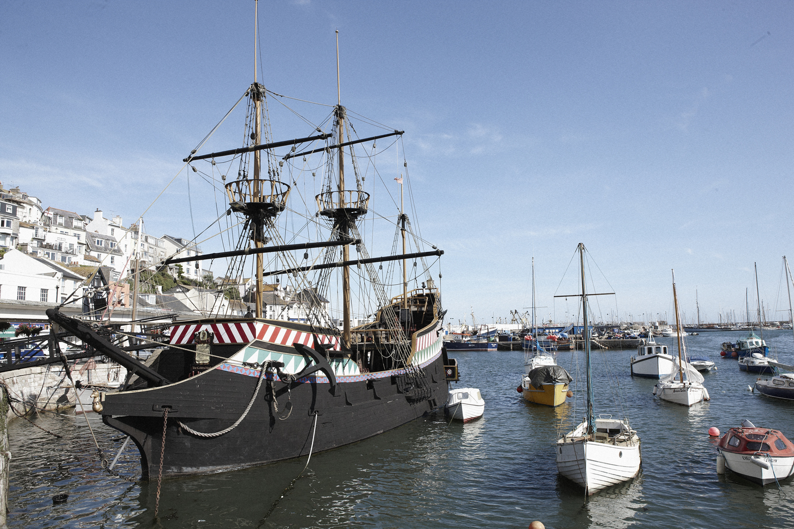 The Golden Hind in Brixham harbour, the main attraction for couples on short breaks in this south Devon port.